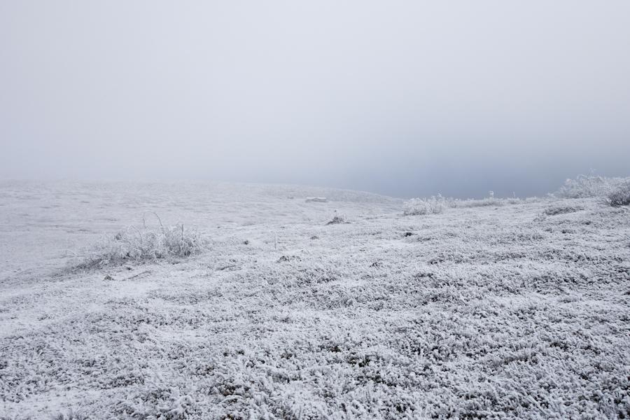 Där i dimman ligger Jaktstugan. Den som serverar områdets bästa våfflor vintertid!